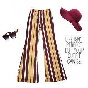 SHEIN Brown Yellow Stripe Bell Bottom Pants